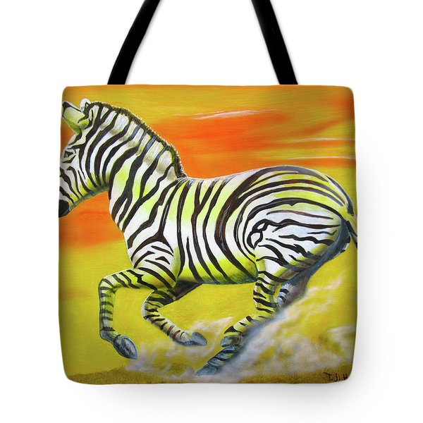 Zebra Kicking Up Dust Tote Bag