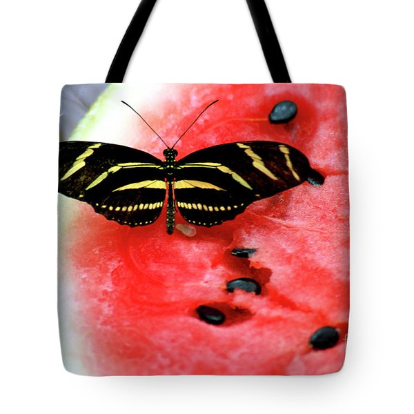 Zebra Longwing Butterfly On Watermelon Slice Tote Bag