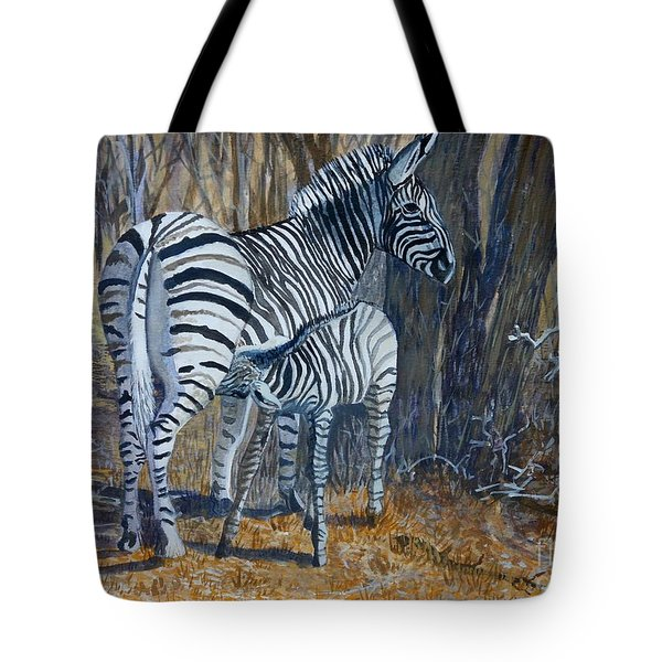 Zebra Mother And Foal Tote Bag by Caroline Street