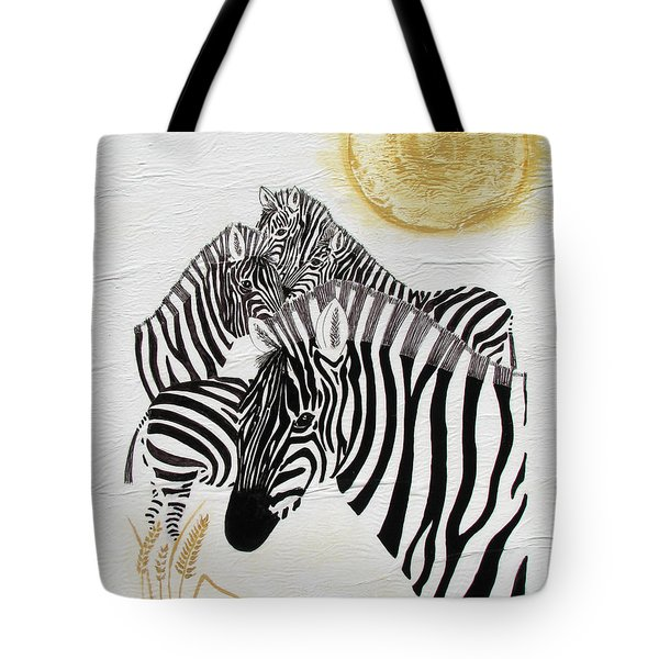 Zebra Quintet Tote Bag by Stephanie Grant