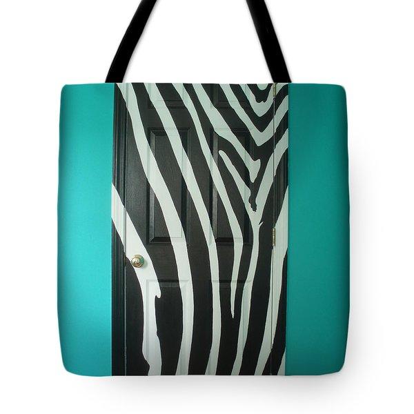 Zebra Stripe Mural - Door Number 1 Tote Bag by Sean Connolly