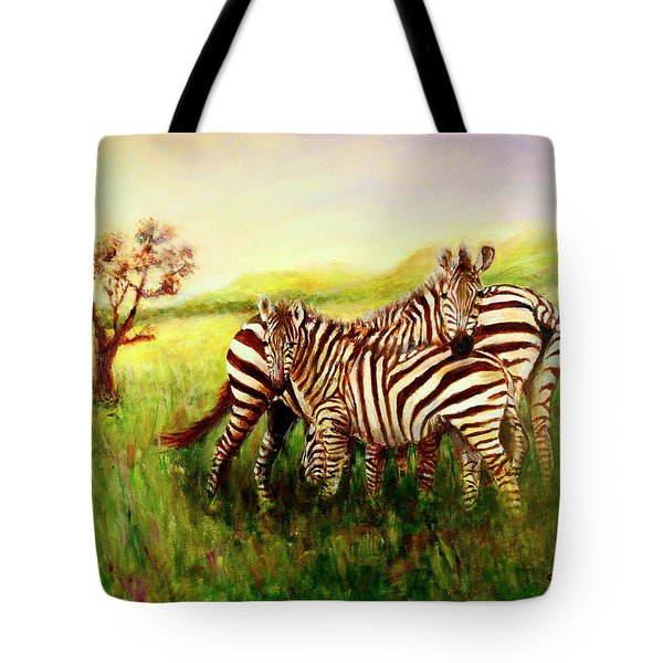 Zebras At Ngorongoro Crater Tote Bag