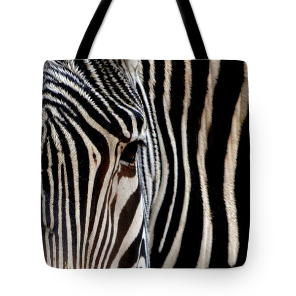 Tote Bag featuring the photograph Zebras Face To Face by Nadalyn Larsen