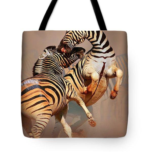 Zebras Fighting Tote Bag