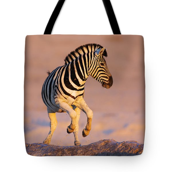Zebras Jump From Waterhole Tote Bag