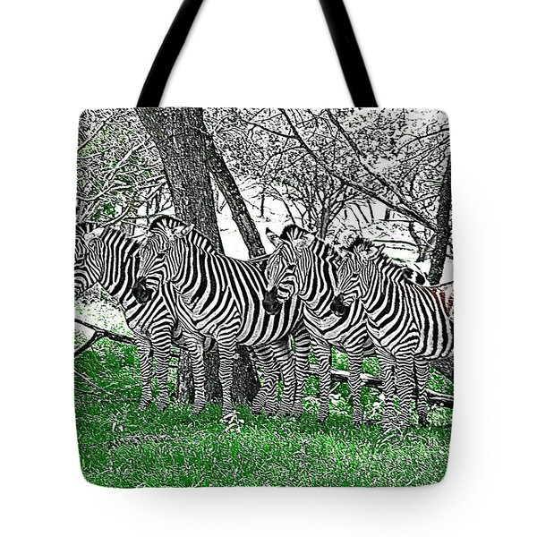 Zebras Tote Bag by Kathy Churchman