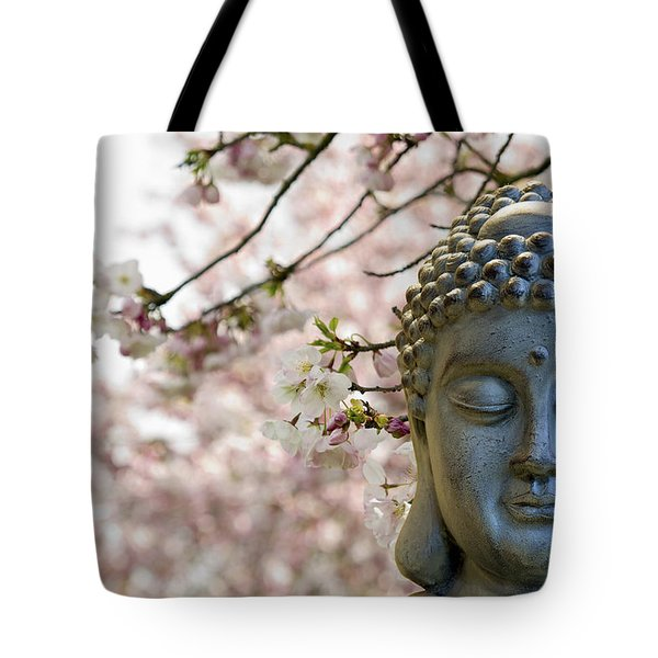 Zen Buddha Meditating Under Cherry Blossom Trees Tote Bag