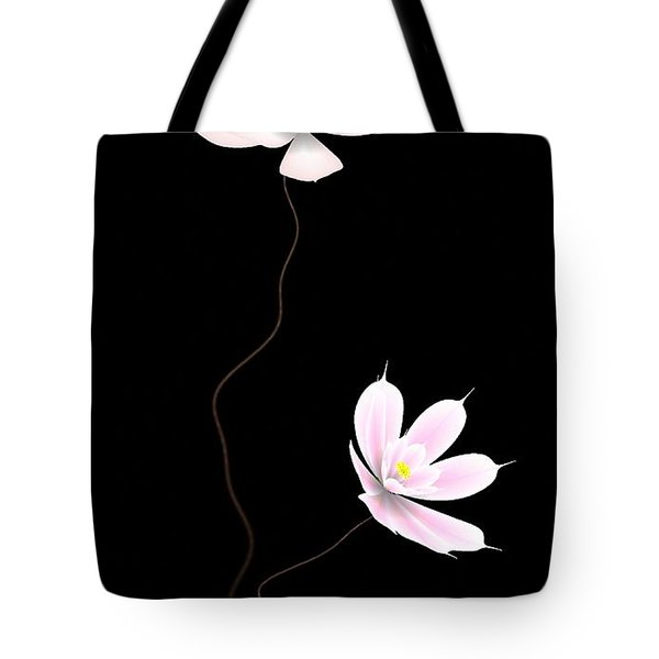 Zen Flower Twins With A Black Background Tote Bag by GuoJun Pan