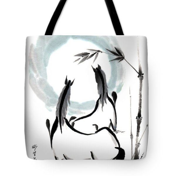 Tote Bag featuring the painting Zen Horses Into The Vortex by Bill Searle