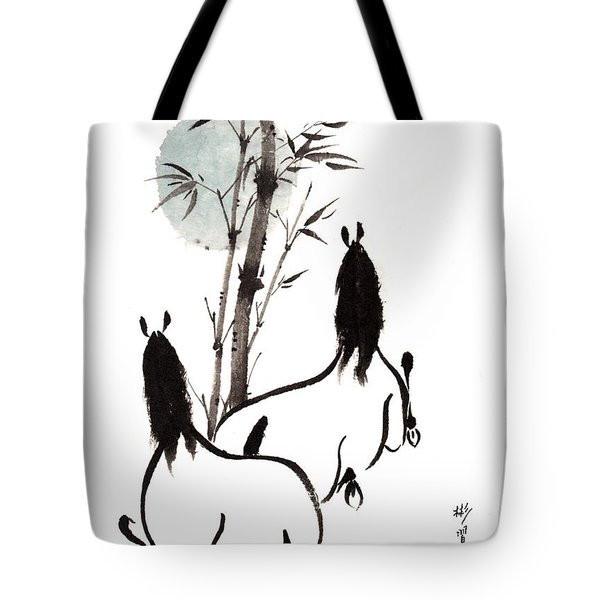 Tote Bag featuring the painting Zen Horses Moon Reverence by Bill Searle