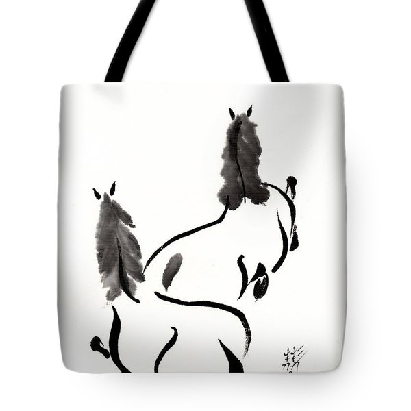 Tote Bag featuring the painting Zen Horses Retired by Bill Searle