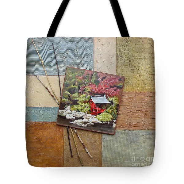 Tote Bag featuring the mixed media Zen Tranquility				 by Phyllis Howard