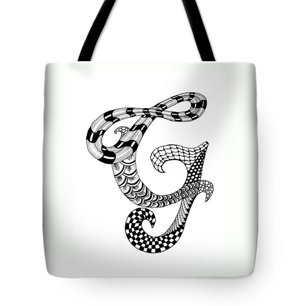 Tote Bag featuring the drawing Letter G Monogram In Black And White by Nan Wright