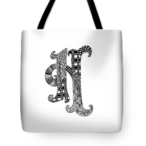 Tote Bag featuring the drawing Letter H Monogram In Black And White by Nan Wright