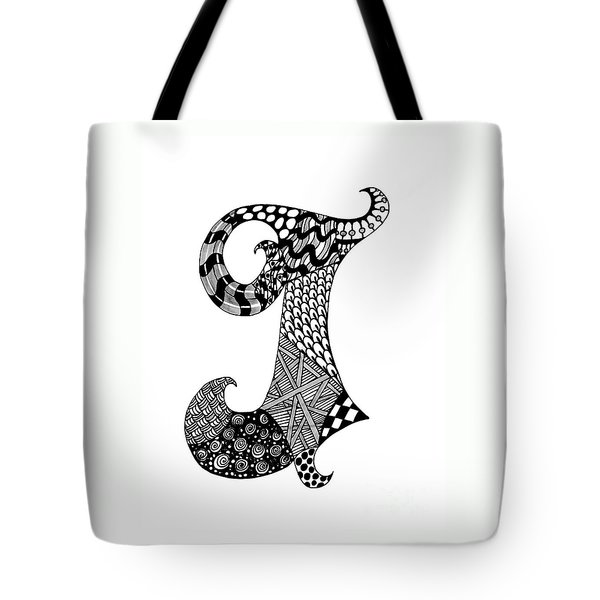 Letter J Monogram In Black And White Tote Bag by Nan Wright