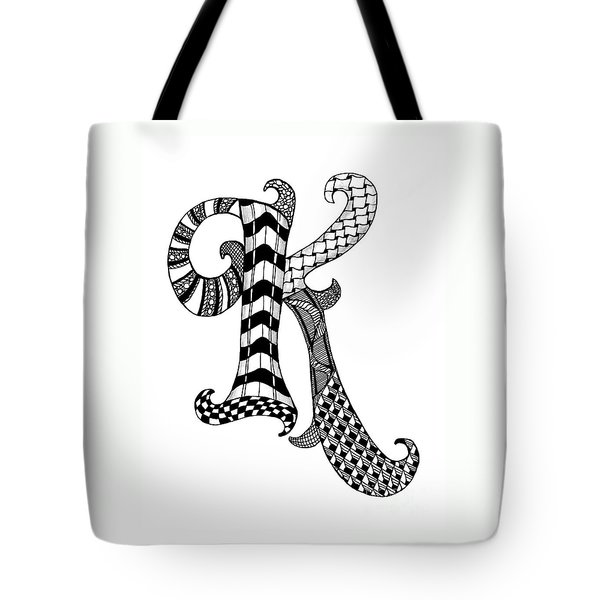 Letter K Monogram In Black And White Tote Bag by Nan Wright