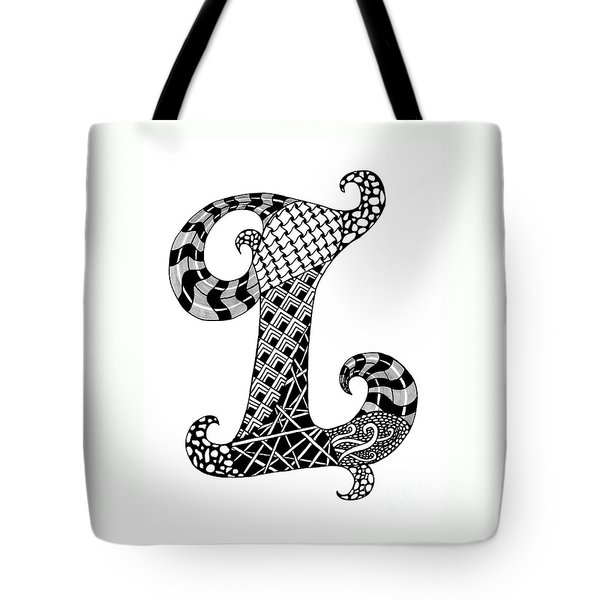 Letter L Monogram In Black And White Tote Bag by Nan Wright