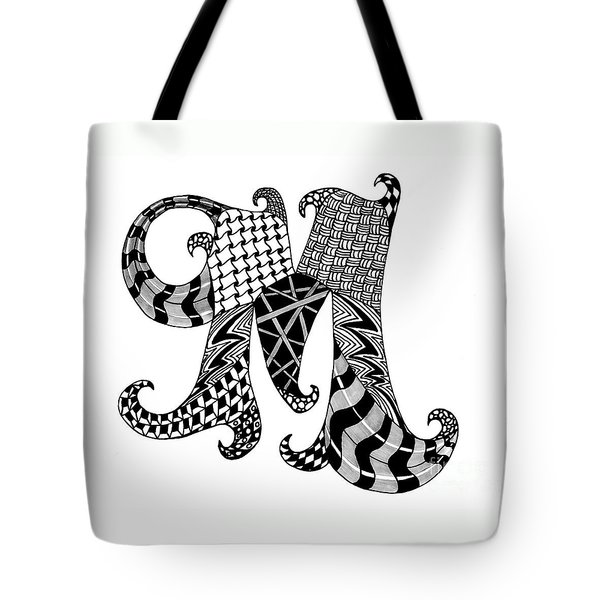 Letter M Monogram In Black And White Tote Bag by Nan Wright