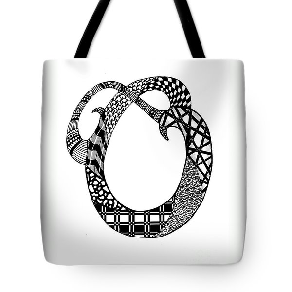 Letter O Monogram In Black And White Tote Bag by Nan Wright