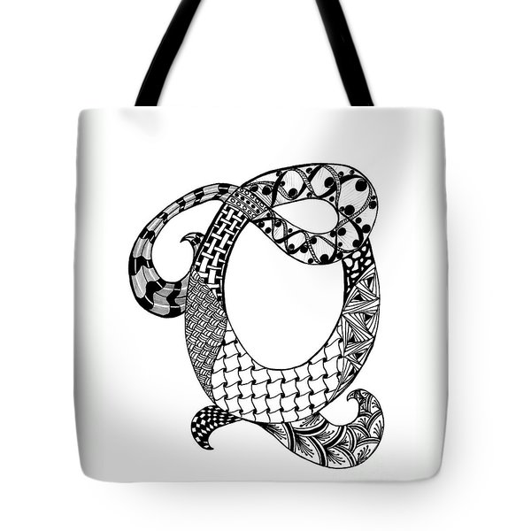 Letter Q Monogram In Black And White Tote Bag by Nan Wright