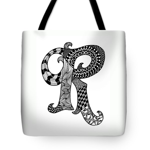 Letter R Monogram Tote Bag by Nan Wright
