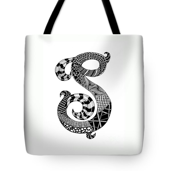Letter S Monogram Tote Bag by Nan Wright