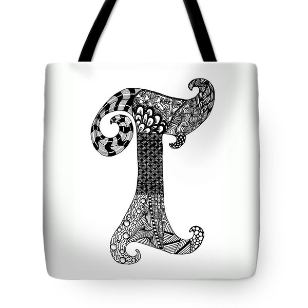 Letter T Monogram Tote Bag by Nan Wright