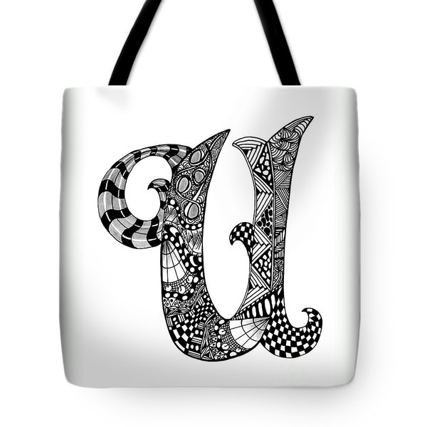 Letter U Monogram Tote Bag by Nan Wright