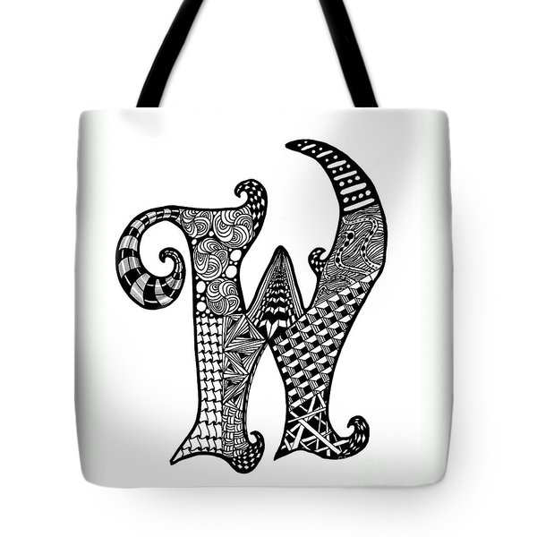 Letter W Monogram Tote Bag by Nan Wright