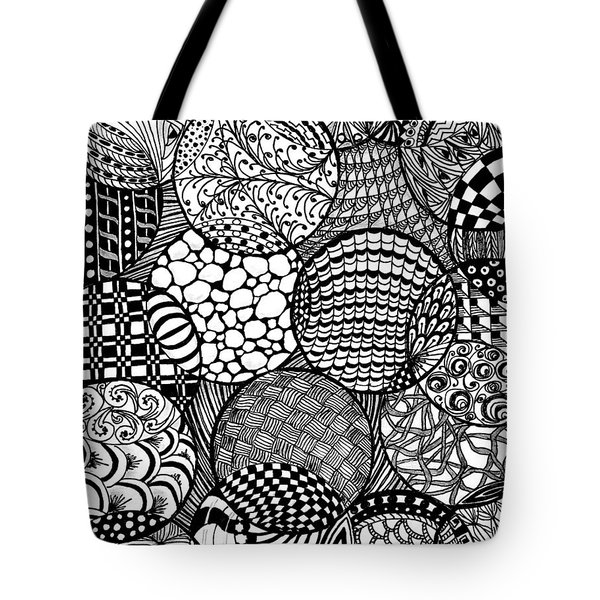 Vertical Ornamental Balls In Black And White Tote Bag by Nan Wright
