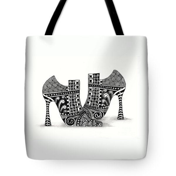 Zanny Shoes In Black And White Tote Bag by Nan Wright