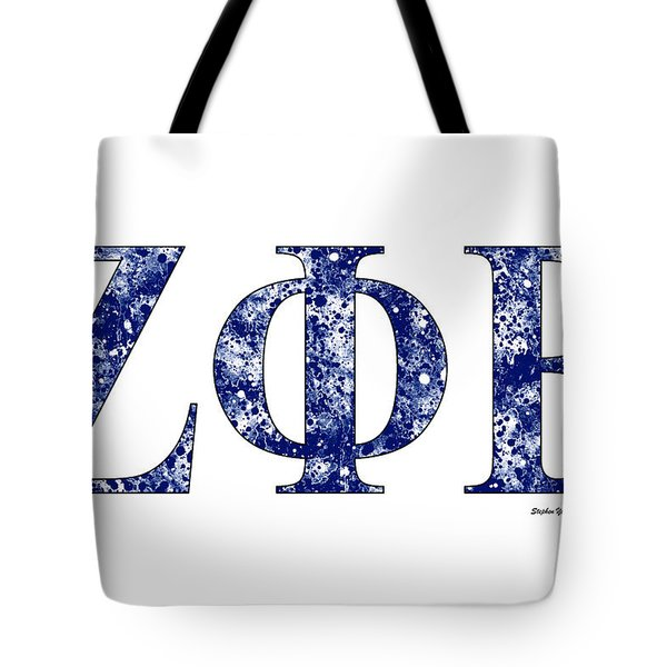 Tote Bag featuring the digital art Zeta Phi Beta - White by Stephen Younts