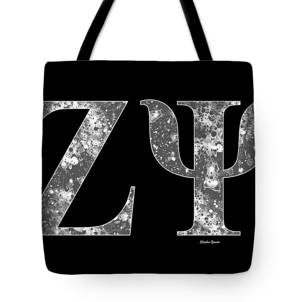 Tote Bag featuring the digital art Zeta Psi - Black by Stephen Younts