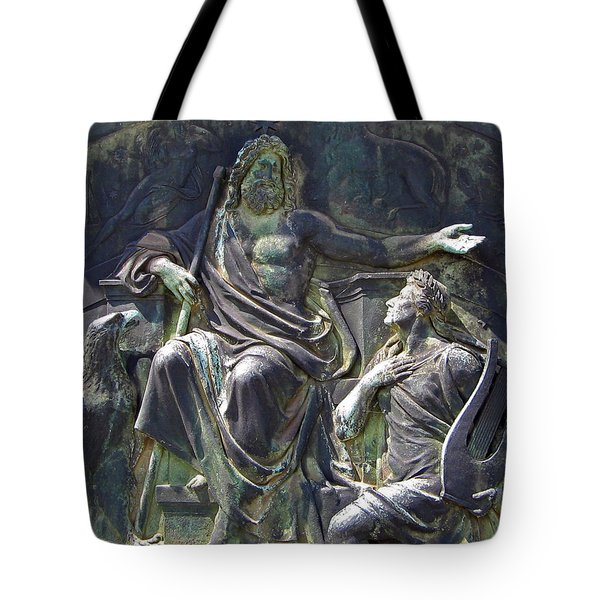 Tote Bag featuring the photograph Zeus Bronze Statue Dresden Opera House by Jordan Blackstone