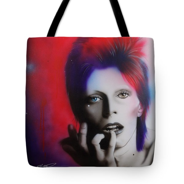 David Bowie - ' Ziggy Stardust ' Tote Bag by Christian Chapman