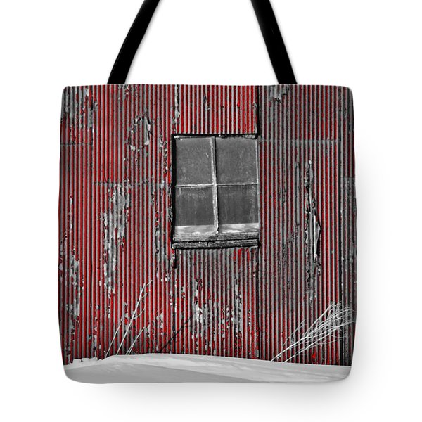 Zink Rd Barn Window Bw Red Tote Bag
