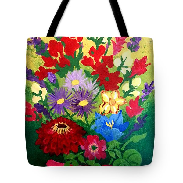 Zinnia And Asters Tote Bag