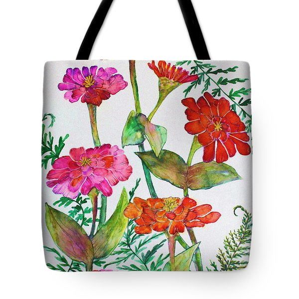 Zinnia And Ferns Tote Bag