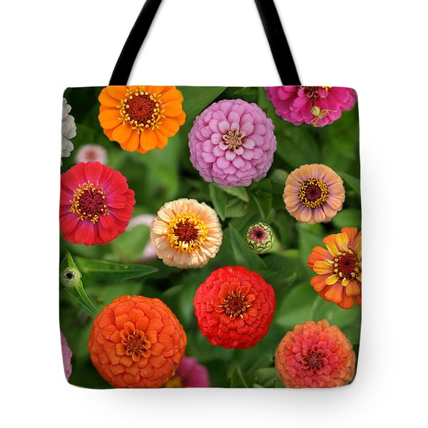 Tote Bag featuring the photograph Zinnia Garden by E B Schmidt