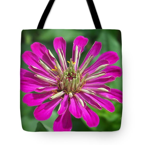 Tote Bag featuring the photograph Zinnia Opening by Eunice Miller