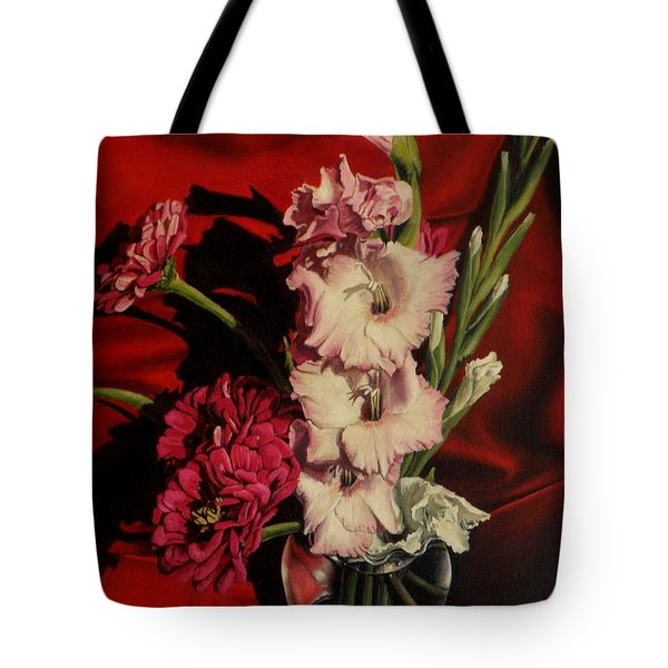Zinnias And Gladiolas Tote Bag