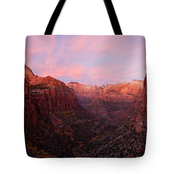 Zion Canyon At Sunset, Zion National Tote Bag by Panoramic Images