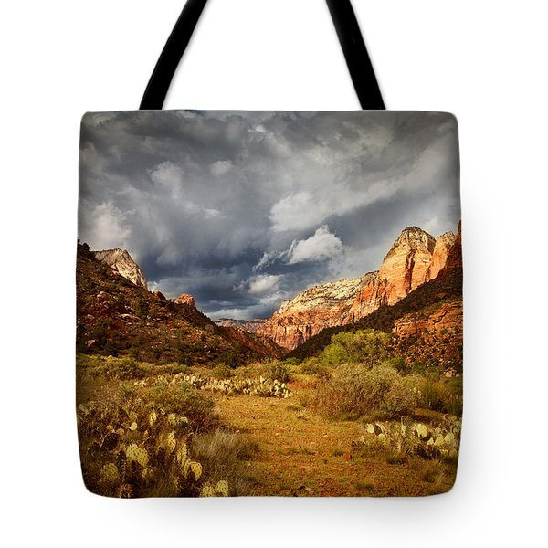 Zion Clearing Storm Tote Bag by Alice Cahill