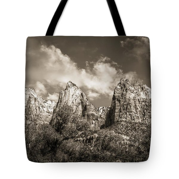 Tote Bag featuring the photograph Zion Court Of The Patriarchs In Sepia by Tammy Wetzel