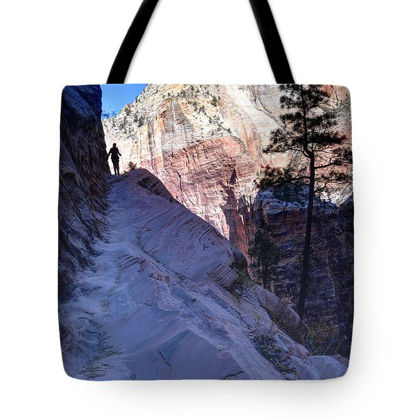 Zion National Park Hiker Climbs Hidden Canyon Trail Tote Bag by Gary Whitton