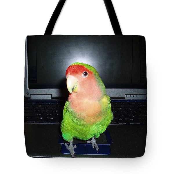 Tote Bag featuring the photograph Zippy The Lovebird by Joan Reese