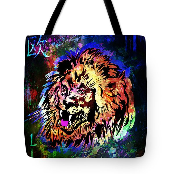 Zodiac-lion And Chinese Symbol Tote Bag