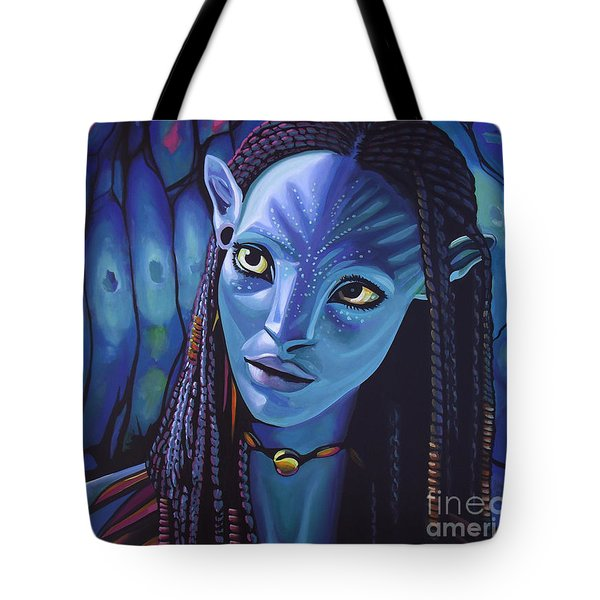 Zoe Saldana As Neytiri In Avatar Tote Bag