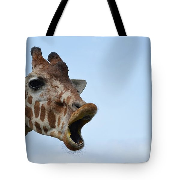 Zootography Giraffe Honking Tote Bag by Jeff at JSJ Photography