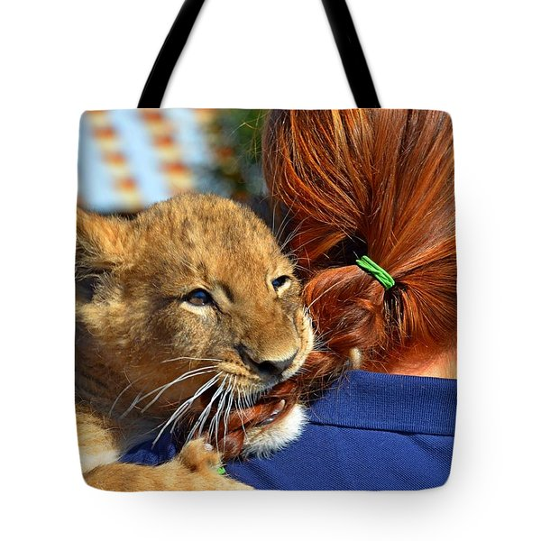 Zootography3 Zion The Lion Cub Likes Redheads Tote Bag by Jeff at JSJ Photography